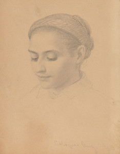 Art Prints of Head of a Young Woman, 1850 by Eastman Johnson