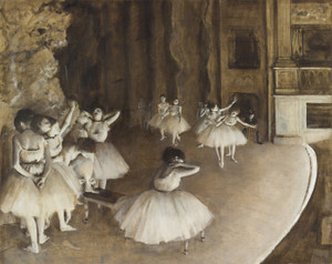 Art Prints of Ballet Rehearsal on Stage by Edgar Degas