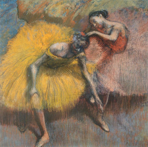 Art Prints of Two Dancers and Yellow Roses by Edgar Degas