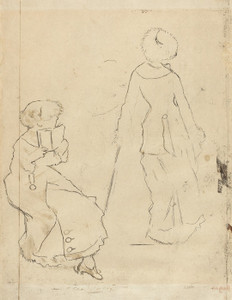 Art Prints of Study for Mary Cassatt at the Louvre II by Edgar Degas