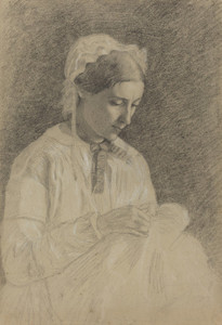 Art Prints of Woman Embroidering by Edgar Degas
