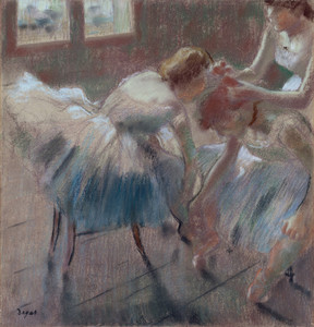 Art Prints of Three Dancers Preparing for Class by Edgar Degas