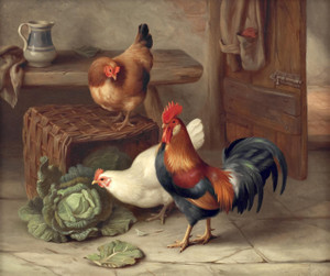 Art Prints of Chickens in a Barn by Edgar Hunt