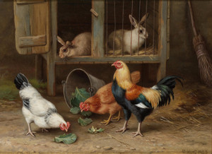 Art Prints of Chickens by a Rabbit Hutch by Edgar Hunt