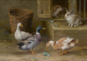 Art Prints of Ducks and Rabbits in a Farmyard by Edgar Hunt