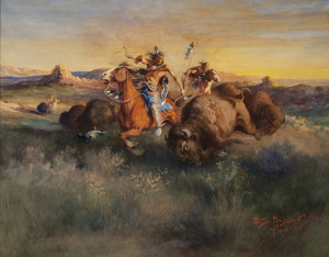 Art Prints of Buffalo Hunt, 1906 by Edgar Paxson