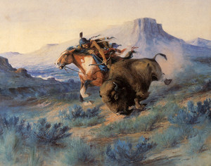 Art Prints of Buffalo Hunt III by Edgar Paxson