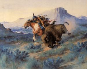 Art Prints of Buffalo Hunt III by Edgar Paxson