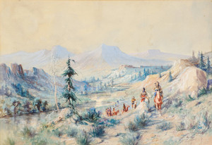 Art Prints of Indians on a Trail by Edgar Paxson