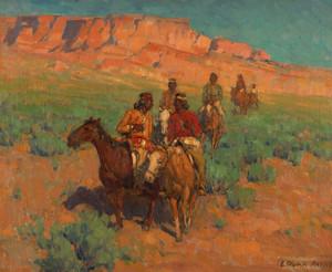 Art Prints of Navajos on Horseback by Edgar Payne