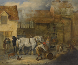 Art Prints of Dray Horses Outside a Brewery by Edmund Bristow