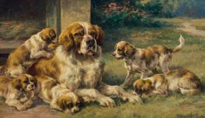 Art Prints of Saint Bernard and Pups by Edmund Henry Osthaus