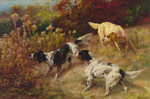 Art Prints of Three Setters on the Hunt by Edmund Henry Osthaus
