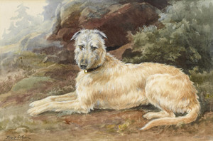 Art Prints of Scottish Deerhound in a Highland Landscape by Edmund Henry Osthaus