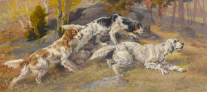 Art Prints of Three Setters in a Field by Edmund Henry Osthaus