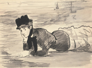 Art Prints of Woman Lying on the Beach, Annabel Lee by Edouard Manet