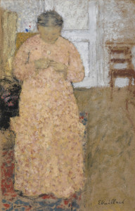 Art Prints of Knitting Woman in Pink Dress by Edouard Vuillard