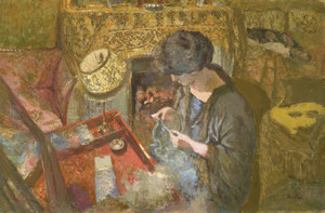 Art Prints of Small Drawing Room, Madame Vuillard at Sewing Table by Edouard Vuillard
