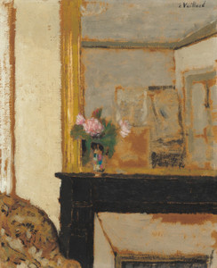 Art Prints of Vase of Flowers on a Mantelpiece by Edouard Vuillard
