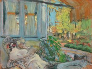 Art Prints of Madame Hessel Reading on the Terrace of Cezanne by Edouard Vuillard