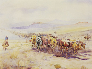 Art Prints of Trailing Longhorns by Edward Borein