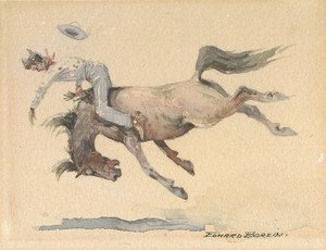 Art Prints of Thrown from a Horse by Edward Borein