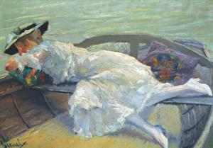 Art Prints of Girl in a Boat by Edward Cucuel