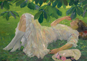 Art Prints of Reclining Woman in White by Edward Cucuel