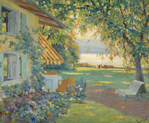 Art Prints of The Artist's garden on the Starnberg by Edward Cucuel
