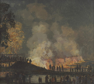 Art Prints of Burning of Center Bridge by Edward Redfield