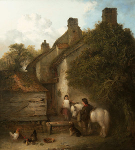 Art Prints of Children with a Grey Pony by Edward Robert Smythe