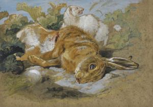 Art Prints of A Ferret and Dead Hare by Edwin Henry Landseer