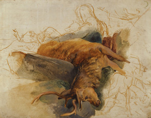 Art Prints of Dead Stag with Figures of a Ghillie and Hounds by Edwin Henry Landseer
