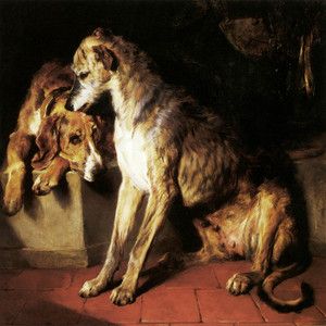 Art Prints of Deerhound and Recumbent Foxhound by Edwin Henry Landseer