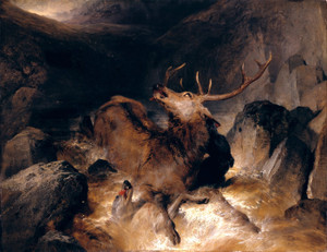 Art Prints of Deer and Deerhounds in a Mountain Torrent by Edwin Henry Landseer