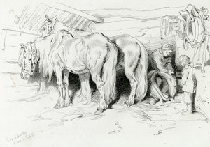 Art Prints of The Stable by Edwin Henry Landseer