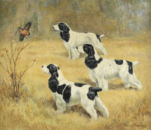 Art Prints of Three Spaniels and a Woodcock by Edwin Megargee