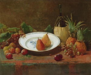 Art Prints of Still Life with Fruit and Wine Jug by Emil Carlsen