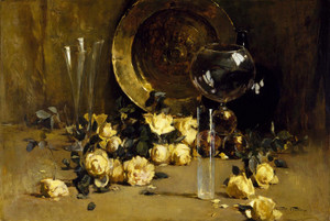 Art Prints of Still Life with Yellow Roses by Emil Carlsen