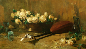Art Prints of Still Life with Roses and Mandolin by Emil Carlsen
