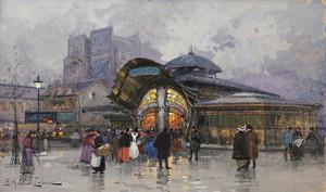 Art Prints of Les Halles, Paris Food Market by Eugene Galien-Laloue
