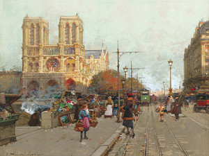 Art Prints of Notre Dame de Paris vue de Quai de Montebello by Eugene Galien-Laloue