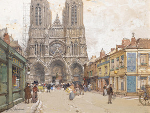 Art Prints of Reims Cathedral by Eugene Galien-Laloue