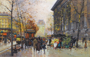 Art Prints of The Flower Market at Madeleine by Eugene Galien-Laloue