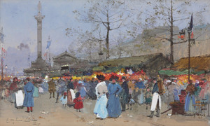 Art Prints of The Market, Paris by Eugene Galien-Laloue