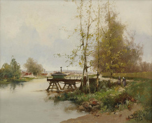 Art Prints of The Pond at the Edge of the Village by Eugene Galien-Laloue