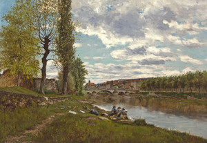 Art Prints of Lavandieres au Bord de Loing by Eugene Galien-Laloue
