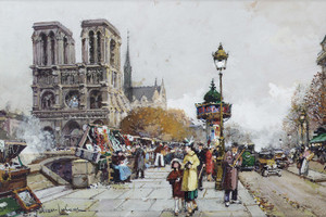 Art Prints of Paris, Notre Dame vue du Quai Saint Michel by Eugene Galien-Laloue