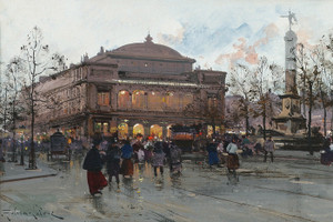 Art Prints of Paris, Place du Chatelet by Eugene Galien-Laloue