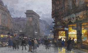 Art Prints of Paris, Porte Saint Denis III by Eugene Galien-Laloue